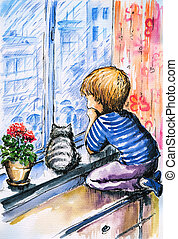 Rainy day - Little boy and cat watching the city through the...