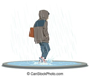 Rainy day. Man in rain. Sad mood. Bad weather. Illustration for internet and mobile website.