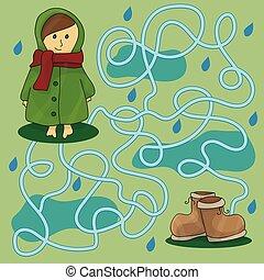 Rainy day maze for kids