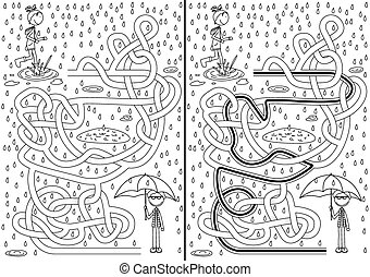 Rainy day maze for kids with a solution in black and white