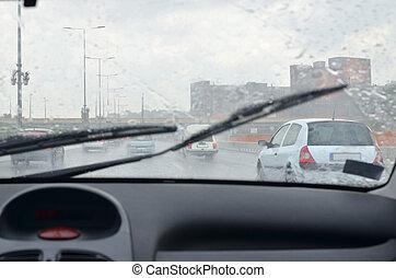 Rainy day on a road