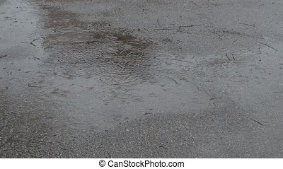 Rainy Day on Street - Water accumulation in puddle on...