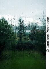 Rainy day - Rainy window on a melancholy day