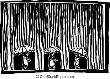 Rainy Day - Three people are under umbrellas as the rain ...
