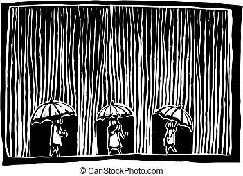 Rainy Day - Three people are under umbrellas as the rain ...