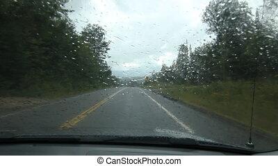 Rainy drive in Muskoka county.