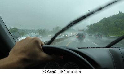 Rainy drive in Toronto. DVP.