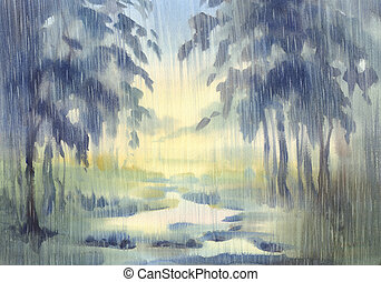 rainy forest in the green light watercolor background