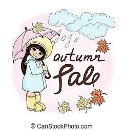 RAINY GIRL Autumn Fall Sale Banner Vector Illustration Set