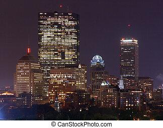 Rainy Night Boston Skyline 1