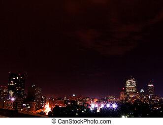 Rainy Night Boston Skyline 4