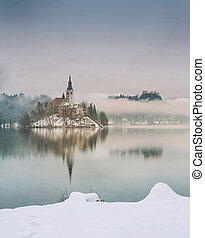 rainy of day at the lake Bled in winter