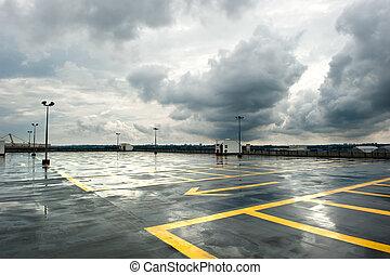 Rainy Parking - Rainy and empty parking