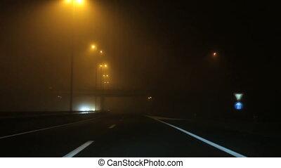 Rainy Road Driving - Wet Rainy hightway Road at Night