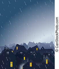 an illustration of a rainy evening over rooftops with a dramatic sky