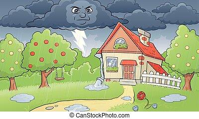 Rainy rural landscape