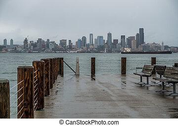 Rainy Seattle Skyliine