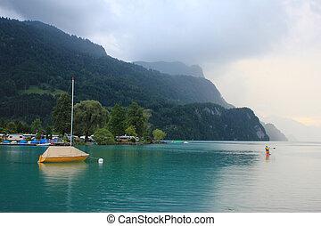 Rainy summer day at the shore of Lake Brienz, Switzerland.