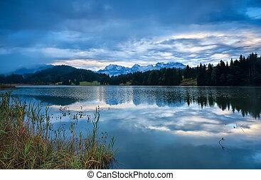 rainy sunrise over Geroldsee lake, Bavaria