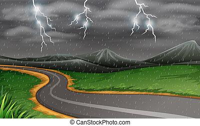 Rainy thunderstorms at night
