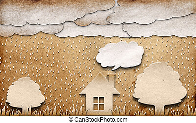 rainy view recycled paper craft stick on brown background