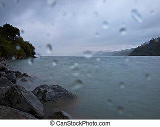 Rainy weather at lake
