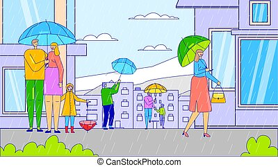 Rainy weather in city, people cartoon characters with umbrella, vector illustration