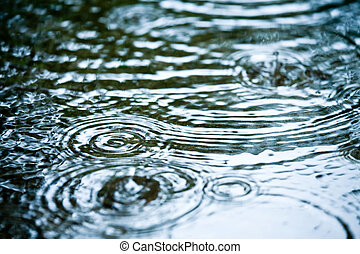 Rainy weather - Rain drops rippling in a puddle