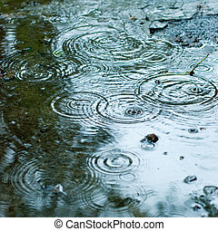 Rainy weather - Rain drops rippling background
