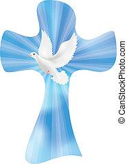 raios, cristão, céu, crucifixos, isolado, vetorial, fundo, luminoso, pomba