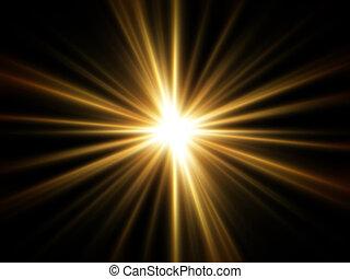 raios, de, dourado, luz