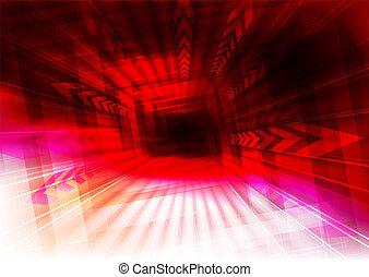 raios, explosão, effect., setas, luz, linhas, luminoso, magra, fundo, vermelho