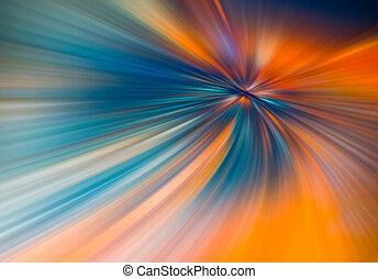raios, fibras, 3d, azul, coloridos, grande, abstratos, ilustração, dados, túnel, color., velocidade, fundo alaranjado