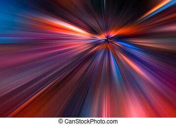 raios, fibras, 3d, coloridos, ilustração, grande, abstratos, dados, color., velocidade, vermelho, fundo alaranjado