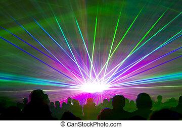 raios, laser, mostrar