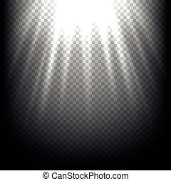 raios, luz, cena, vetorial, fundo, black., raio sol, transparente