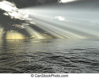 raios luz, e, oceânicos
