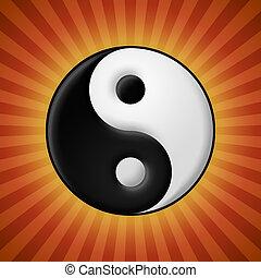 raios, símbolo, yang yin, fundo, vermelho