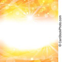 raios, sol, abstratos, fundo, luz, laranja