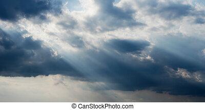 raios sol, e, nuvens