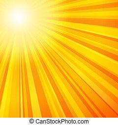 raios sol, em, amarela, e, laranja, cores