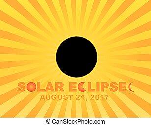 raios, solar, sol, eclipse, ilustração, fundo, 2017, total