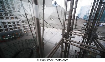 Raise glass elevator at Grand Arch of La Defense