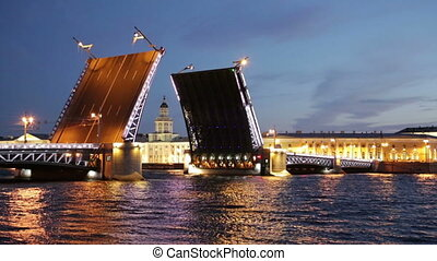 raise Palace Bridge across river Neva and Kunstkamera,...