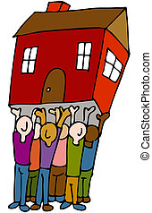 An image of a people lifting a house.