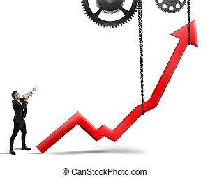 Raise the statistics - Businessman authoritarian order to ...