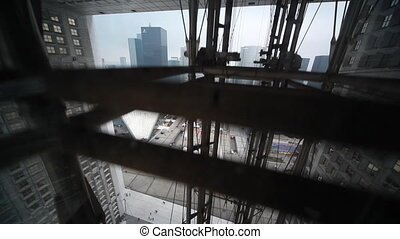 Raise to very top elevator at Grand Arch of La Defense -...