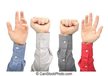 raised, руки, of, другой, люди, на, белый, задний план