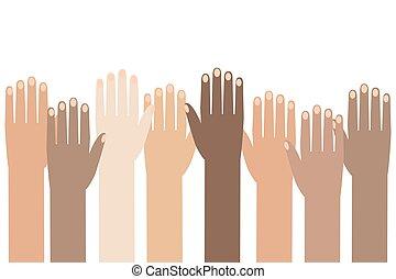 raised., カラフルである, 権利, イラスト, 多人種である, バックグラウンド。, 人間の術中, 日, peoples'