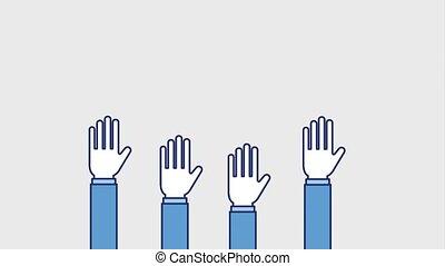raised arms team community image animation hd